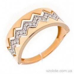 Золотое комбинированное кольцо с фианитами Искра (арт. 1191554141)