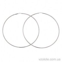 Серьги-кольца из белого золота Конго (арт. 2006096102)