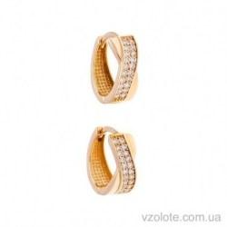 Золотые серьги-колечки с фианитами Милена (арт. 2105612101)