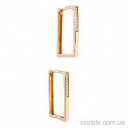 Золотые серьги с фианитами Квадрат (арт. 2106295101)