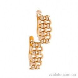 Золотые серьги с фианитами Паула (арт. 2191537101)