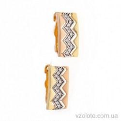 Золотые комбинированные серьги с фианитами Искра (арт. 2191554141)