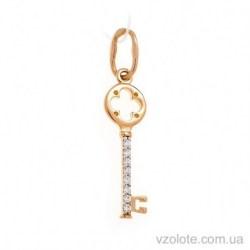 Золотой кулон Ключик с фианитами (арт. 3106054101)
