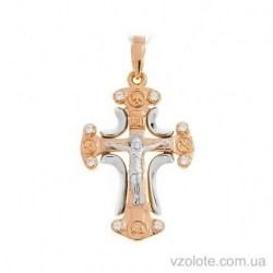 Золотой комбинированный крест с фианитами (арт. 501658)