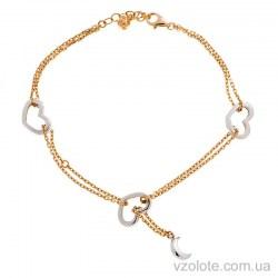 Золотой браслет с подвесками из белого золота (арт. 324421кбП1)