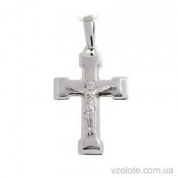 Крестик из белого золота с распятием (арт. 501606ббм)
