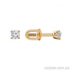 Золотые пусеты с бриллиантами Юма (арт. 2104317201)
