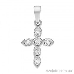 Крестик из белого золота с бриллиантами (арт. 3103639202)