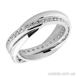 Обручальное кольцо из белого золота Тринити с фианитами