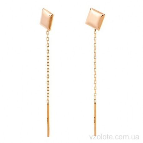 Золотые серьги-протяжки Квадрат (арт. 2006068101)