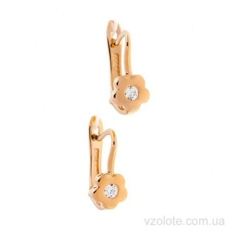 Золотые детские серьги с фианитами Надис (арт. 2106199101)
