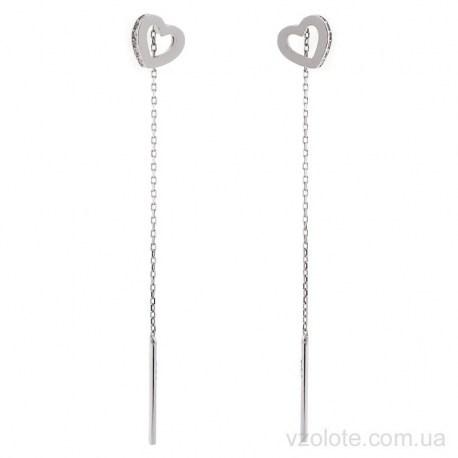 Серьги-протяжки из белого золота Сердечки (арт. 2106839102)