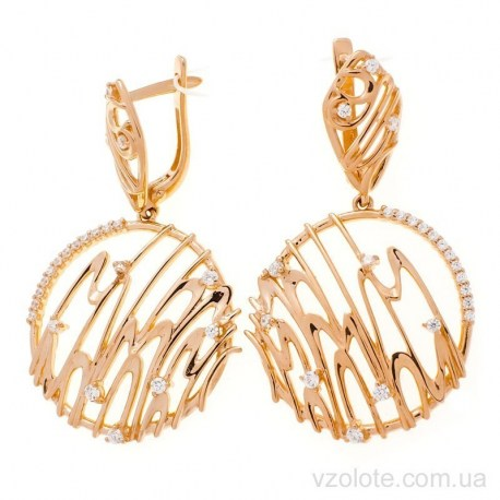 Золотые серьги с подвесками Элис (арт. 2191657101)