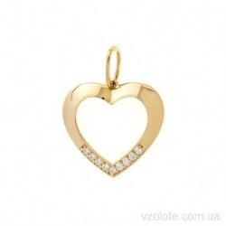 Кулон из лимонного золота с фианитами Сердце (арт. 3106743103)