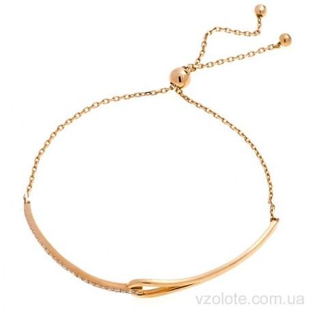 Золотой полужесткий браслет с фианитами Теона (арт. 4216166101)