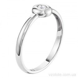 Кольцо из белого золота с бриллиантом (арт. 15018БИБР)