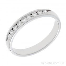 Обручальное кольцо из белого золота с бриллиантами Анжелика
