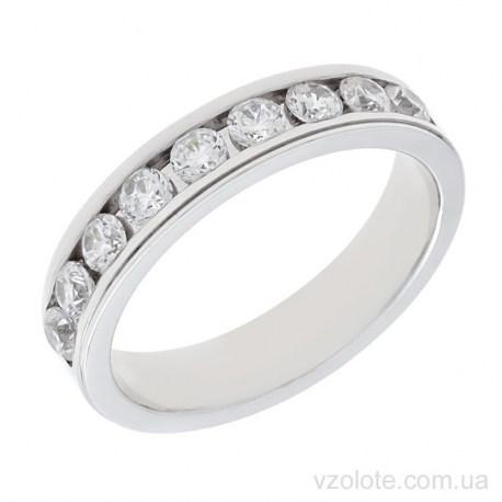 Обручальное кольцо из белого золота с фианитами Венеция