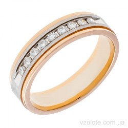 Золотое комбинированное обручальное кольцо с бриллиантами Мона Лиза