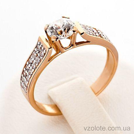 Золотое кольцо с фианитами (цирконием) (арт. 140432)