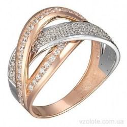 Золотое комбинированное кольцо с фианитами Сенес (арт. 1191496112)