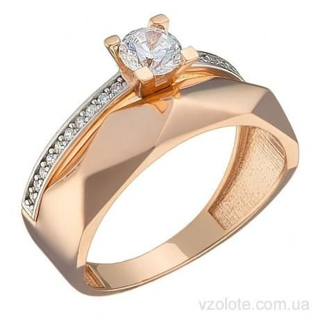 Золотое комбинированное кольцо с фианитами Адиан (арт. 1191521101)