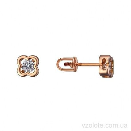 Золотые серьги гвоздики с фианитами Джосс (арт. 2105926101)