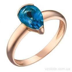 Золотое кольцо с топазом Лондон Блю Сефрис (арт. 1191334101лб)