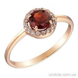 Золотое кольцо с гранатом (арт. 1190832101г)