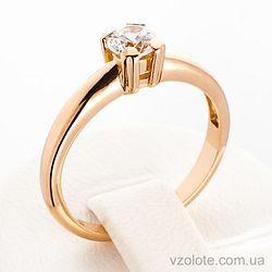 Золотое кольцо с фианитом (цирконием) (арт. 140341)