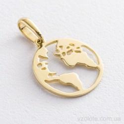 Подвеска из лимонного золота Планета Земля (арт. п03449)