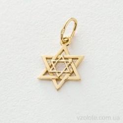 Кулон из лимонного золота Звезда Давида (арт. п03295)