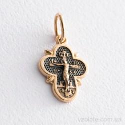 Золотой крестик с чернением Распятие (арт. п03263)
