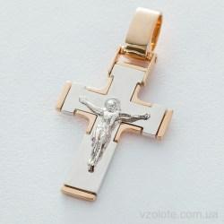 Золотой православный крест с распятием (арт. п03212)