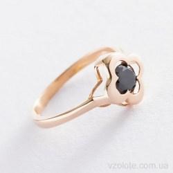 Золотое кольцо с черным фианитом Клевер (арт. к05246)