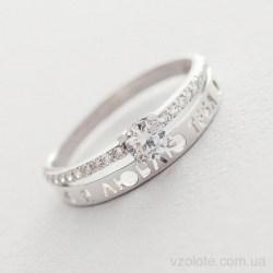 Помолвочное кольцо из белого золота с фианитами Я люблю тебя (арт. к05231)