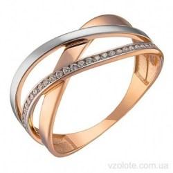 Золотое комбинированное кольцо с фианитами (арт. 1106608112)