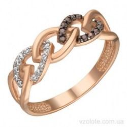 Золотое кольцо с черными фианитами Видола (арт. 1106720101)