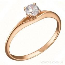 Золотое помолвочное кольцо с фианитом (арт. 1106954101)