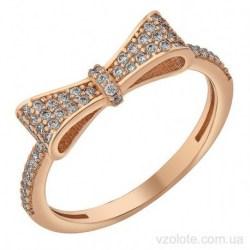 Золотое кольцо с фианитами Бантик (арт. 1107252101)