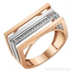Золотое комбинированное кольцо с фианитами (арт. 1107362101)