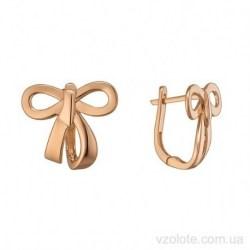 Золотые серьги без камней Бант (арт. 2006488101)