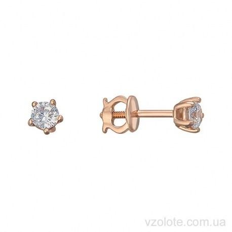 Золотые серьги пусеты с фианитом Наид (арт. 2105887101)