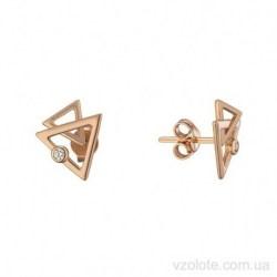 Золотые пусеты с фианитами Треугольнки (арт. 2106490101)