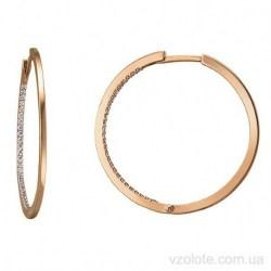 Золотые серьги-кольца с фианитами (арт. 2106567101)
