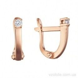 Золотые серьги с фианитами Итигрен (арт. 2107976101)