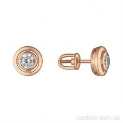 Золотые серьги пусеты с фианитами Лидис (арт. 2191758101)