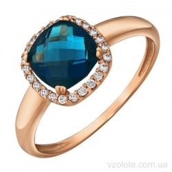 Золотое кольцо с топазом Лондон Блю (арт. 1191545101лб)
