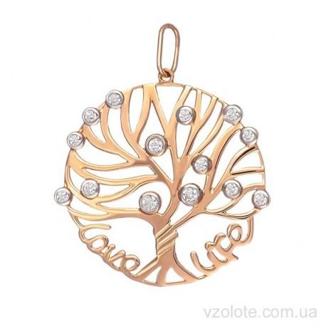 Золотой кулон с фианитами Дерево жизни (арт. 3103825101)