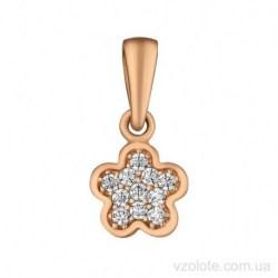 Золотой кулон с фианитами Цветочек (арт. 3107014101)